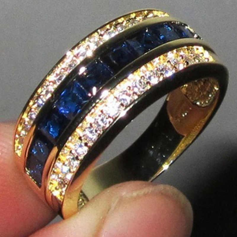 2019 Zirconia Sapphire แหวน 18 k Gold Flash Bague หรือ Jaune Bizuteria สำหรับเครื่องประดับอเมทิสต์ Diamante Anillos De แหวนสำหรับผู้ชาย