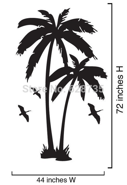 Coconut tree wall stickers , Large Size Palm Trees Vinyl Wall Decals With Seabirds Art For Home Decor Free Shipping