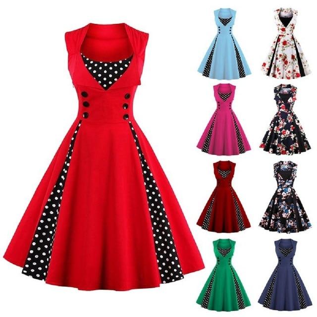 104 45 De Descuentoaliexpresscom Comprar Wipalo S 4xl Mujeres Traje Vestido De 2019 Retro Vintage 50 S 60 S Rockabilly Punto Swing Verano Mujer