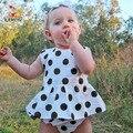 Bebé que arropan el sistema KAMIMI 2017 nueva primavera negro dots impreso dress + del cortocircuito del bebé 2 unids ropa conjuntos bebé encantador ropa