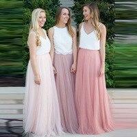 Mulheres 3 Camadas Rendas Maxi Saia Longa Saias de Tule Macio Dama de Honra do casamento Vestido de Bola Saia Faldas Saias Femininas Jupe Plus tamanho