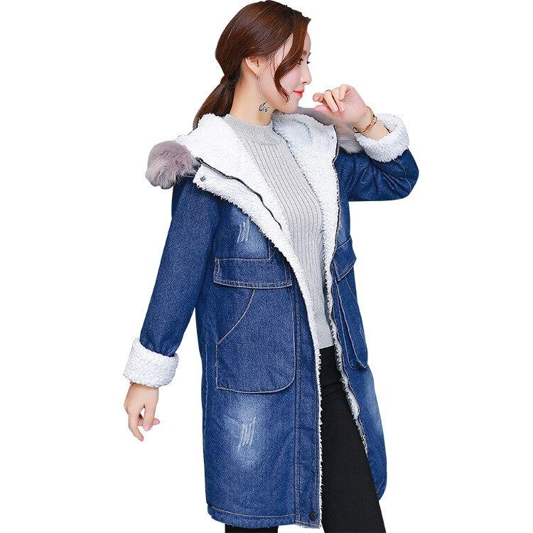 Womens 2017 Winter Fur Hooded Denim Jackets Female Long Slim Thickening jeans Coats Vintage Warm Wool Windbreaker 100702