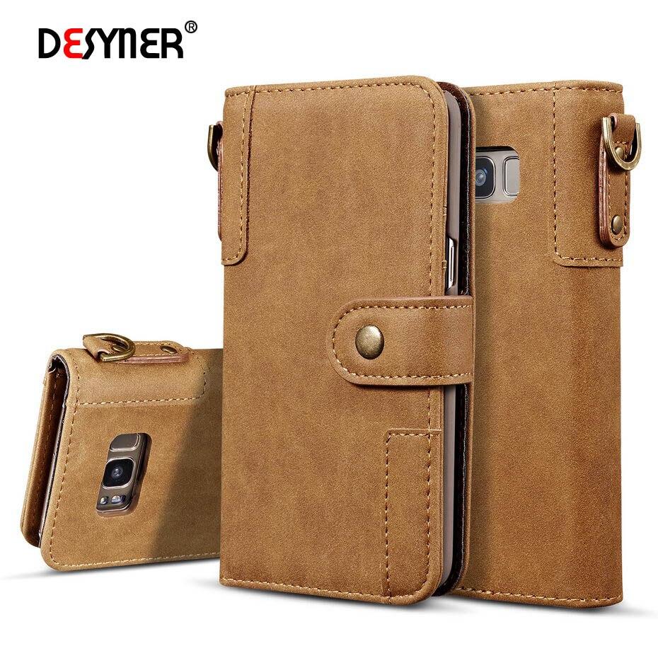Desyner Пояса из натуральной кожи чехол для Samsung Galaxy S6 <font><b>S7</b></font> S8 плюс края Примечание 8 чехол Модные Магнитный кошелек слот для карты телефон сумка