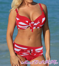 Sexy New RED white Classic stripe bikini SWIMSUIT SWIMWEAR size M L XL XXL Free shipping within 24hours