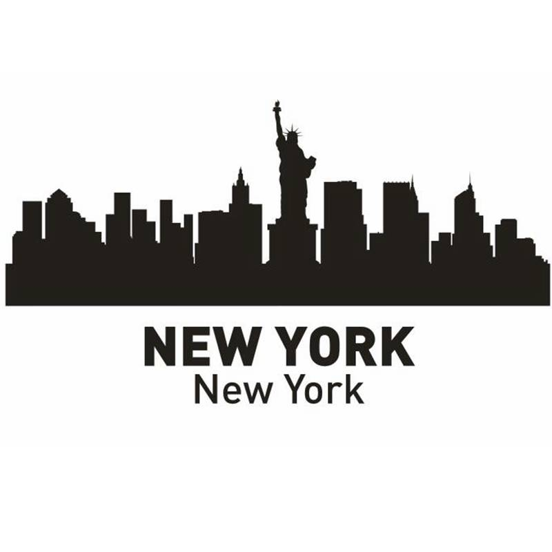 Dctal Нью-Йорк город этикета ориентир Skyline Наклейки на стену эскиз плакат Parede Дома ...