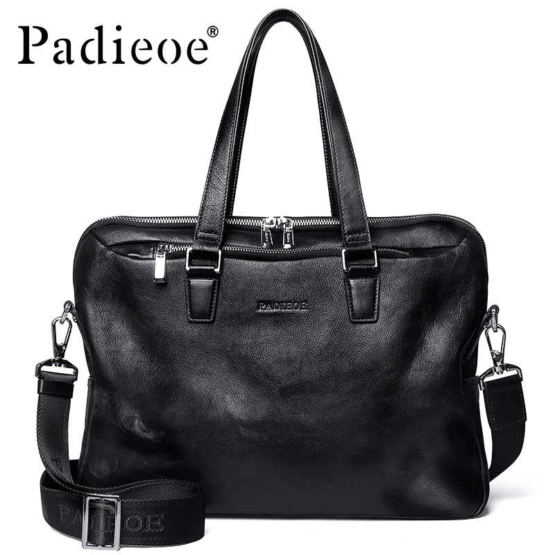 где купить Padieoe Famous Brand Genuine Leather Men Briefcase Business Leather Male Briefcase Male Casual Shoulder Messenger Bag Tote Bags дешево
