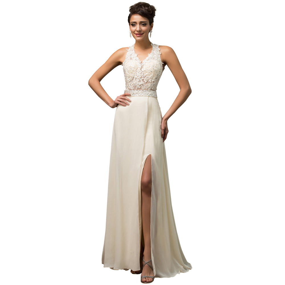 Sale – Beige Princess Embroidery Halter Backless A-line Wedding Dress