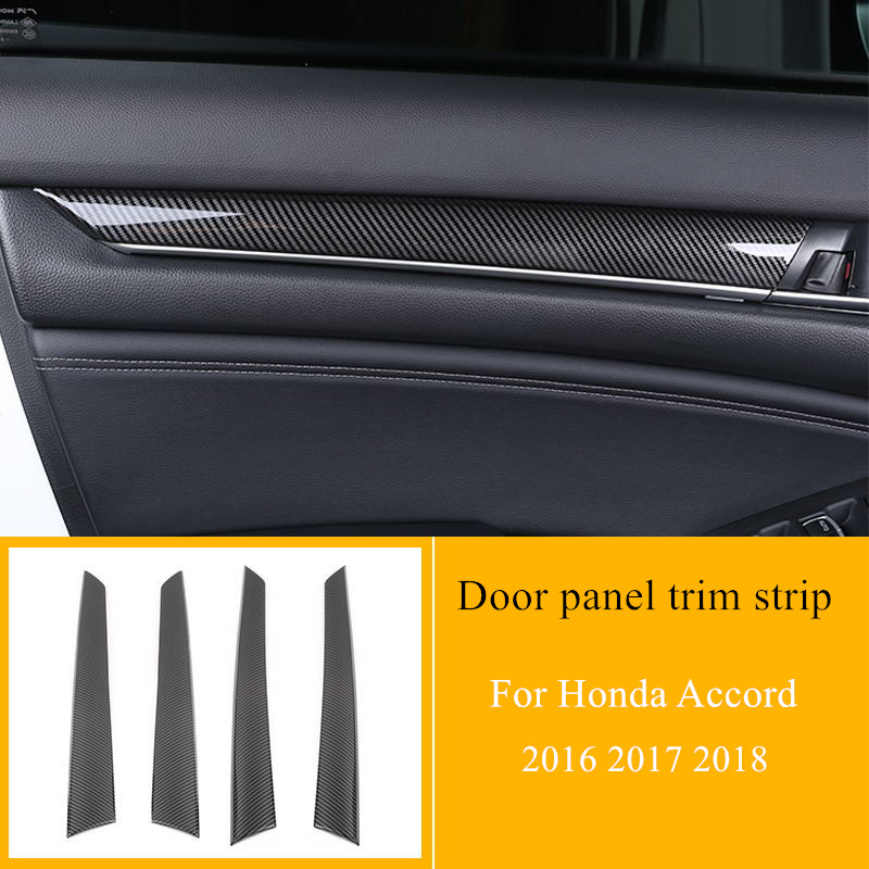 4pcs/set 5 Colors Car Door Panel Trim Strip ABS Carbon Fiber Interior Decoration <font><b>Accessories</b></font> For <font><b>Honda</b></font> <font><b>Accord</b></font> 2016 2017 <font><b>2018</b></font> image