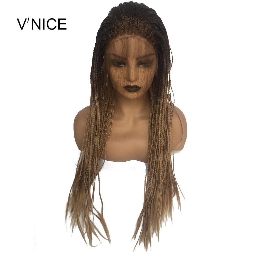 V'NICE ブラウンオンブル蜂蜜ブロンドで HairHeat 性繊維合成レースフロント編組かつら編組ボックス組紐かつら  グループ上の ヘアエクステンション & ウィッグ からの 人工レースウィッグ の中 1