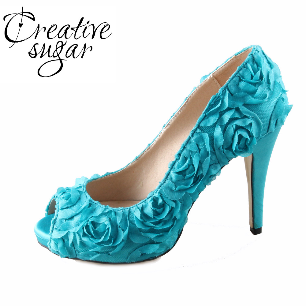 Handmade teal turquoise 3D rose flower fairy tale theme wedding shoes party bridal peep toe heels big small size sweet pumps creativesugar handmade teal peacock blue long tulle bridal shoes soft gauze leg strap forest fairy tale wedding party lady pumps