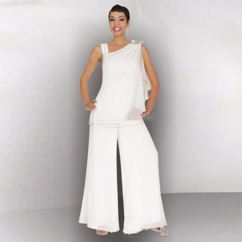 Wedding Pant Suits.Us 126 64 15 Off Mother Of The Bride Groom Pant Suit Ruched Crystal Plus Size White Chiffon Elegant Women Formal Wedding Guest Dresses In Mother Of