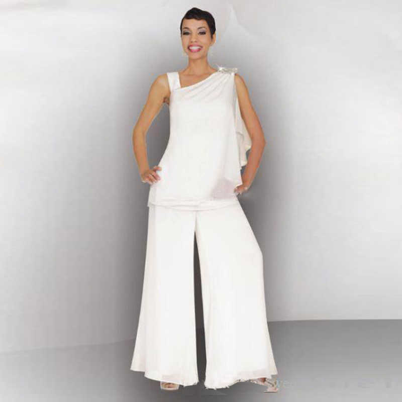 ... Mother Of The Bride Groom Pant Suit Ruched Crystal Plus Size White  Chiffon Elegant Women Formal ... ed8fd6c89f20