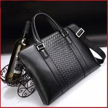 2016 new weave pattern handbag business man bag briefcase men's cross-casual shoulder messenger bag BB528