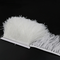10 yards White Ostrich Feathers Fringe Trims Fluffy Feather Headdress Costume Accessories Decoration Ribbon Wedding Decorative