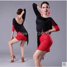 Latin dance costume sexy ice silk tassel long sleeves  latin dance dress women latin dance competition costume dresses