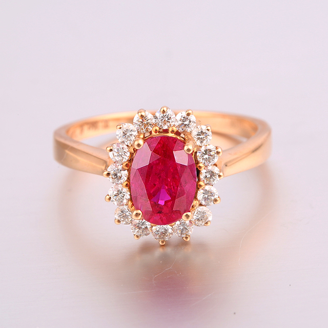 Robira 1ct Ruby Engagement Rings For Women 18K Rose Gold Jewelry Natural Precious Diamond Wedding