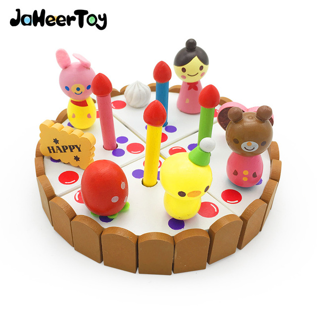 Jaheertoy Wooden Toys Kitchen Toys Set Emulation Cake Birthday Gifts