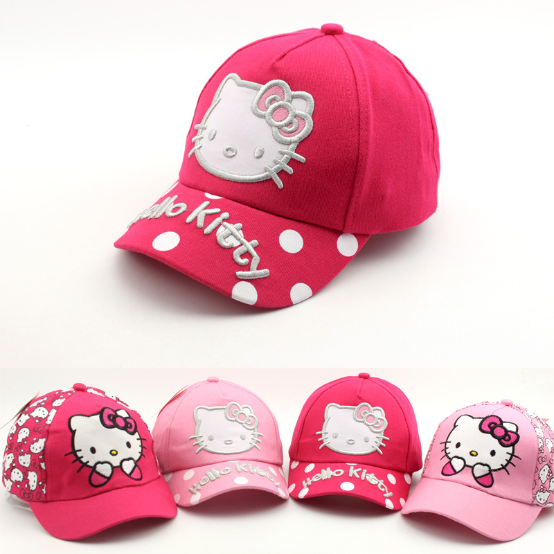 2018 Baby summer hats Spring New Cap Cartoon Cat cute hello kitty Child Baseball Caps outdoor girls Sun Visor Hat caps Snapback плед сruise welcom
