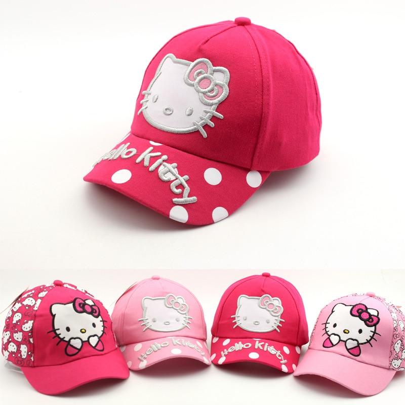295cf145 2018 bebé verano sombreros primavera nueva tapa de gato de dibujos animados  lindo hello kitty niño gorras de béisbol al aire libre chicas sol visera ...