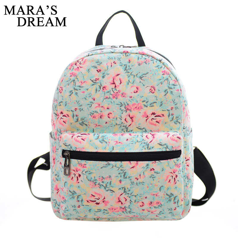 Mara's Dream Floral Printing Women School Bag Backpack For Teenage Girls Backpacks Canvas Children Schoolbag Women Book Bags college girl canvas 3pcs backpack letters printing women usb school backpacks schoolbag for teenagers student book shoulder bags