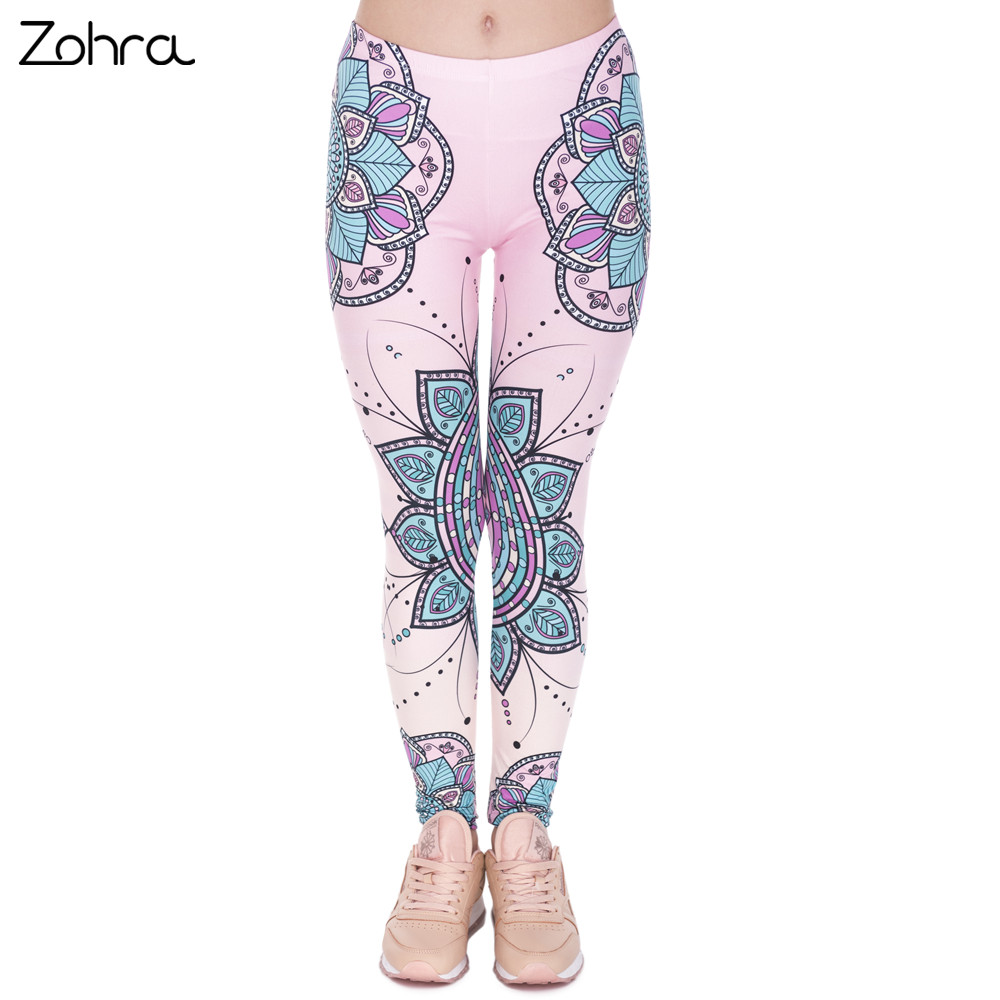 Zohra Fashion Әйелдер Legins Mandala Flower 3D Басып шығару Silm High Waist Woman Leggings