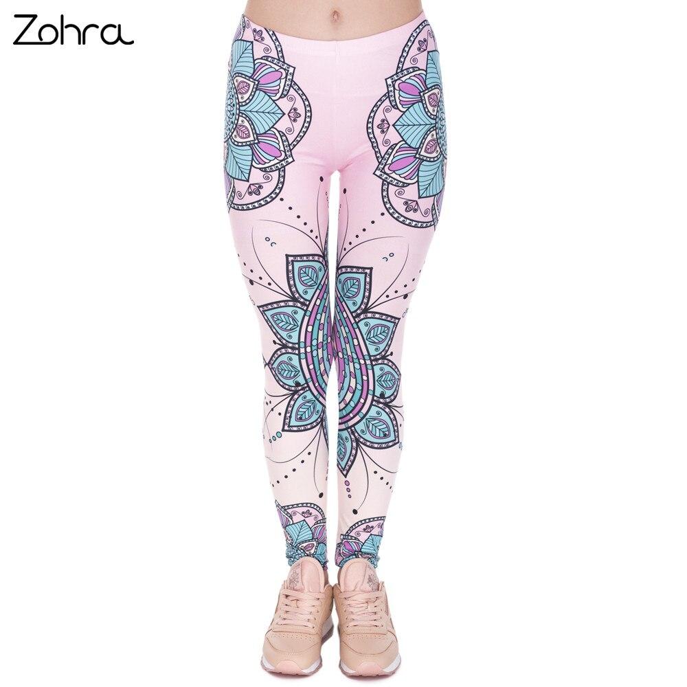 Zohra Fashion Women Legins Mandala Flower 3D Printing   Legging   Silm High Waist Woman   Leggings