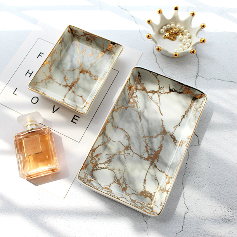 European Marble Trays Ceramic Jewelry Storage Tray Dinner Gold Inlay Porcelain Dessert Plate Steak Fruit Snack Food Plate Decor