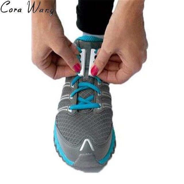 Cora Wang 1 Pair Shoe Laces Magnetic 2017 New Fashion Metal  Shoelaces  Lazy Lacet Elastic Chaussure Shoestring ASL667A