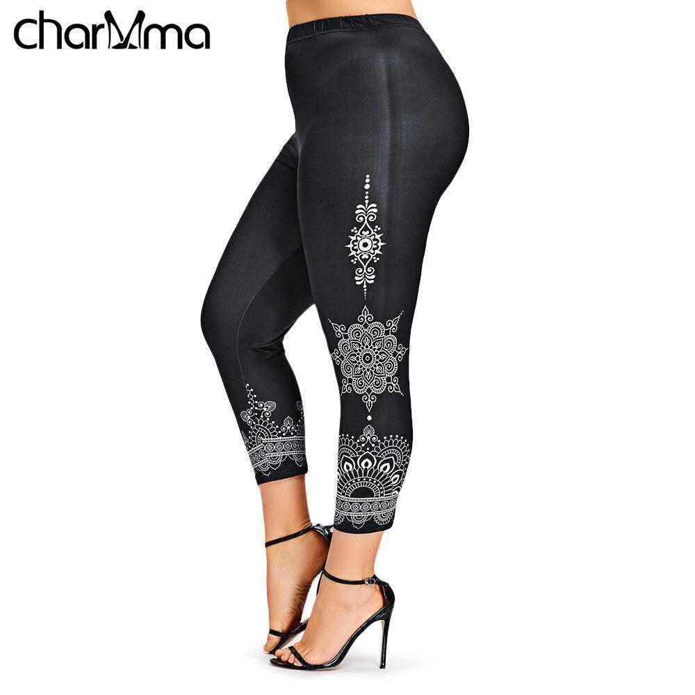 women's pants Plus Size Ethnic Print   Leggings   2018 Skinny Fitness Elastic Waist Ninth Pencil Pants Women Trousers Leggins Pants