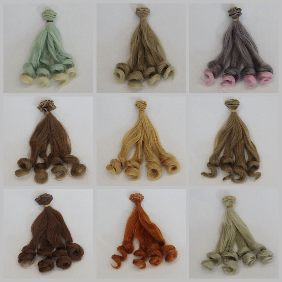 1pc Fashion Doll Hair 15X100cm Wholesale High Temperature Fiber Curly For DIY / BJD Wig