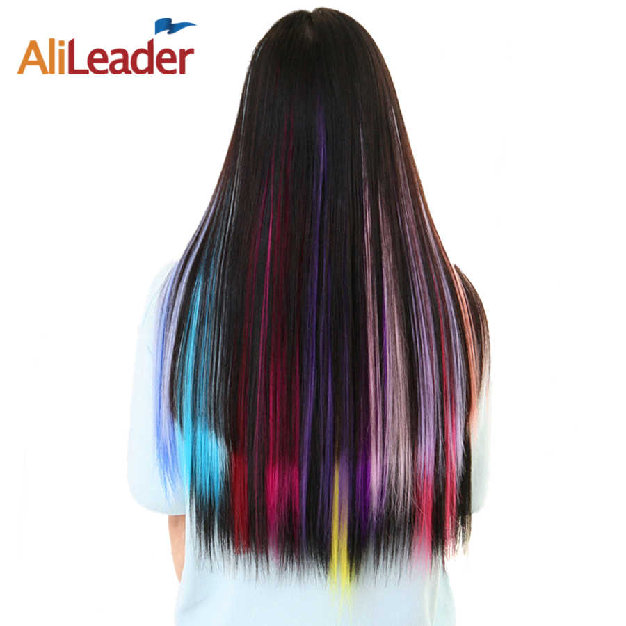 Alileader Hair Products One Clip Hairpiece Synthetic Hair Extensions 20 Inch Long Hair With Clips In Ombre Straight Fake Hair