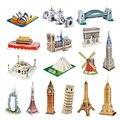 Mini Construção De Modelos De Papel 3D Magic World Architecture Dducational HT3719 Brinquedo 23 Estilos Gota-Transporte