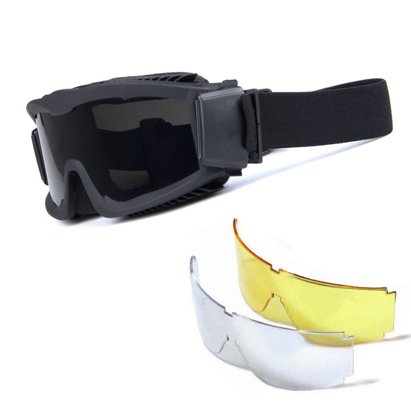 Bulletproof Tactical Airsoft Goggle Paintball Shooting Glasses Military Sport Sunglasses 3 Lens UV Protection