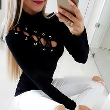 цена на 2019 Spring Women Elegant Fashion Sexy Solid Black Basic Top Office Style Lace-Up Eyelet Hollow Out Long Sleeve Casual Shirt