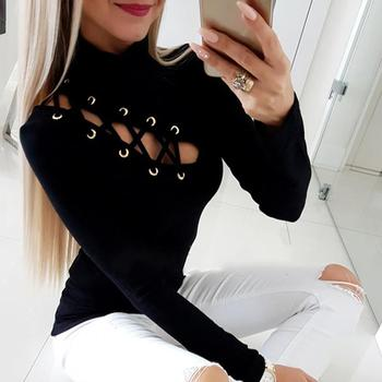 2020 Spring Women Elegant Fashion Sexy Solid Black Basic Top Office Style Lace-Up Eyelet Hollow Out Long Sleeve Casual Shirt eyelet lace up staggered jumper