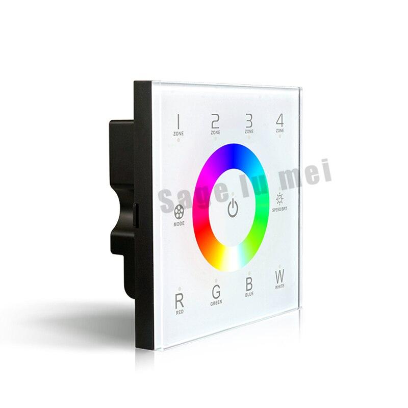 AC110V-240V DX8 LED rgbw touch panel controller 4 Zones RF 2.4G+DMX512 control master RGBW wall mounted,for LED rgbw strip panel dmx512 digital display 24ch dmx address controller dc5v 24v each ch max 3a 8 groups rgb controller