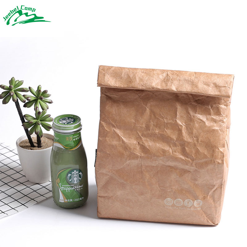 Jeebel 6L Thermal Lunch Box Cooler Bag Insulated Tyvek Brown Paper Color Reusable Handy Bag Durable Insulated Portable Picnic