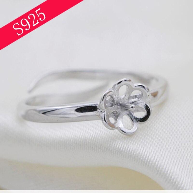 2018 Лидер продаж 925 стерлингов Серебряные ювелирные изделия кольцо Fingding Fit Pearl более 6 мм S925 Регулируемое Кольцо Цветок День матери подарок