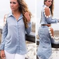 Newest Women Denim Shirt Patchwork Blouse Lapel Long Sleeve Off Shoulder Lace Applique utton Down Women Tops #k 62