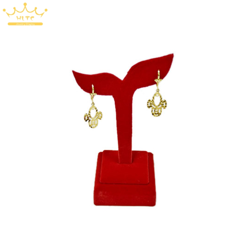 Counter Top Wedding Jewelry Ring Display Stand Holder Tower Jewellery Ring Showcase Organizer Rack Red Velvet Shop Decorate