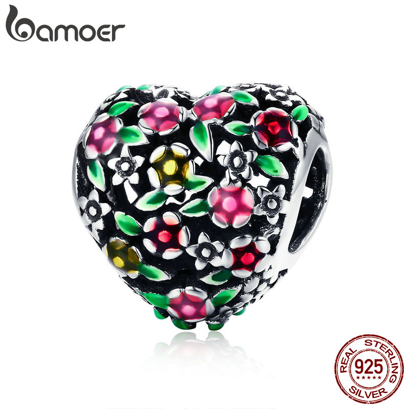 BAMOER Summer Collection 100% 925 Sterling Silver Valley Of Flowers Heart Charm Beads fit Women Bracelet DIY Jewelry Gift SCC646