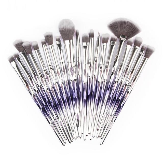 MAANGE 20pcs Diamond Makeup Brush Set Fan Powder Foundation Blush Eyeshadow Eyeliner Lip Cosmetic Beautiful Make Up Brush Tools