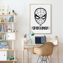 Bianche Wall Spider-Man Superhero Cartoon Head Black and White Canvas Painting Art Print Poster Picture Home Decor