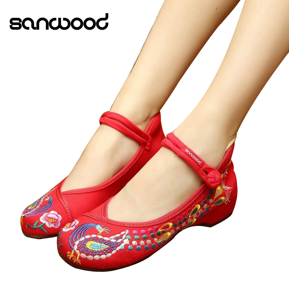 Chinese Old Peking Style Phoenix Flower Embroidered Mary Jane Shoes