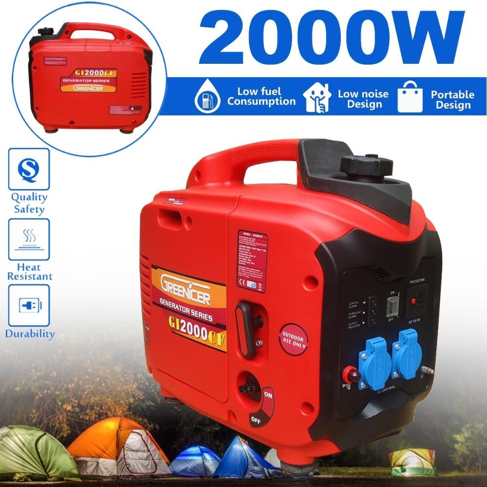 1/2/KW 220V Portable Electric DC/AC Inverter Generator Digital Gasoline Ture Power Engine Generator Starter Car Household