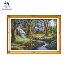 Joy sunday scenic style The cabin in the forest needlecraft stamped detailed cross stitch patterns for 14ct or 11ct