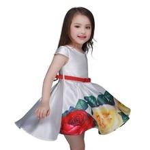 Date 2016 Filles Fleur Impression Robe Enfants Fête D'anniversaire Princesse Robe Bébé Imprimé Robes de Vacances Livraison Gratuite