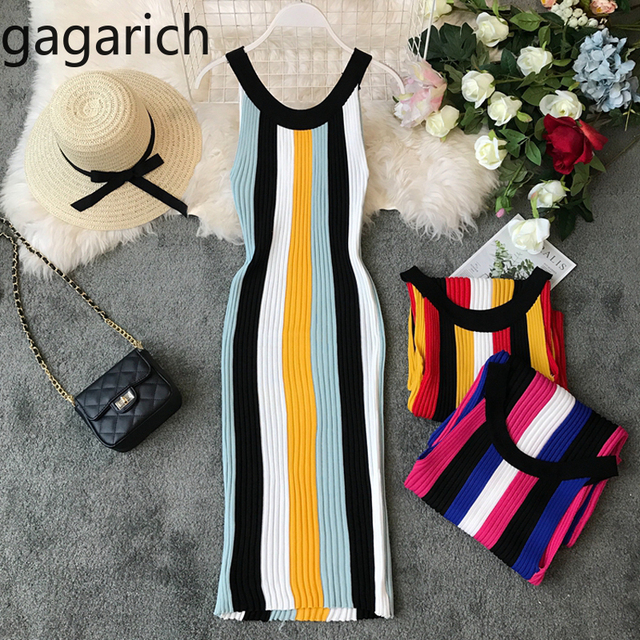 a5b1e6c1dca5b US $9.81 45% OFF|Gagarich 2019 Casual Stretch Striped Women Dress  Sleeveless Spring Summer Vintage Bodycon Sweater Dresses Knitted  Vestidos-in Dresses ...