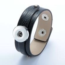 Hot Sale 1pcs/lot PU Leather bracelet Bangle Jewelry 18mm snap button Bracelet For 18mm DIY snap button Jewelry SZ0370a