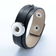 Hot Sale 1pcs/lot PU Leather bracelet Bangle Jewelry 18mm snap button Bracelet For 18mm DIY snap button Jewelry SZ0370a